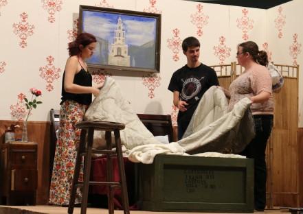 CWC Theatre students Seth Siebersma, Aubrey Ducharme and Katie Wagner rehearse.