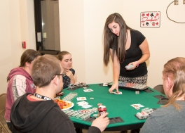 Students playing poker